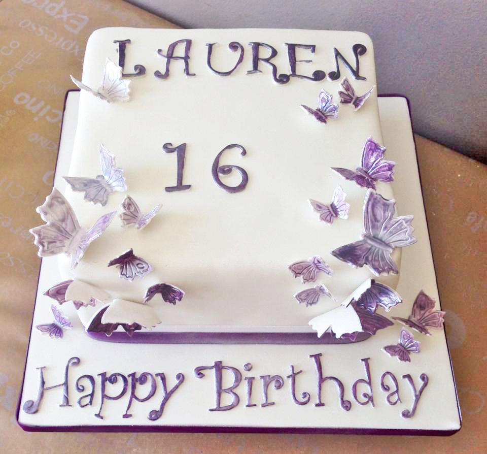Lilac Butterfly Wings 16th Birthday Cake Midnightbaker